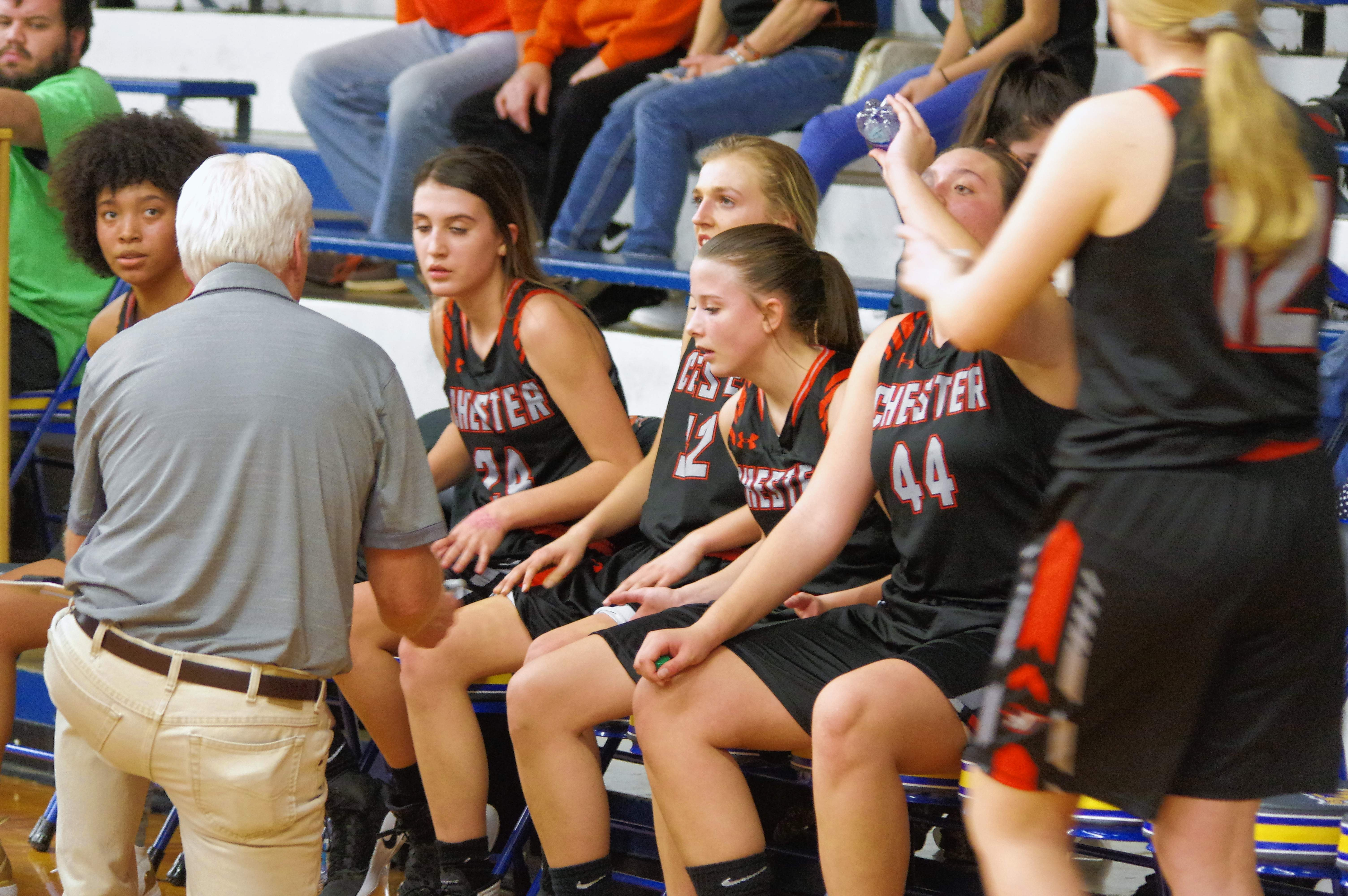 Chester Head Coach Pat Knowles calls a time out with 3:48 remaining in the game. On the bench, from left, are Destiny Williams, Reese Chandler,Josie Kattenbraker, Kendall Williams and Alyssa Seymour.