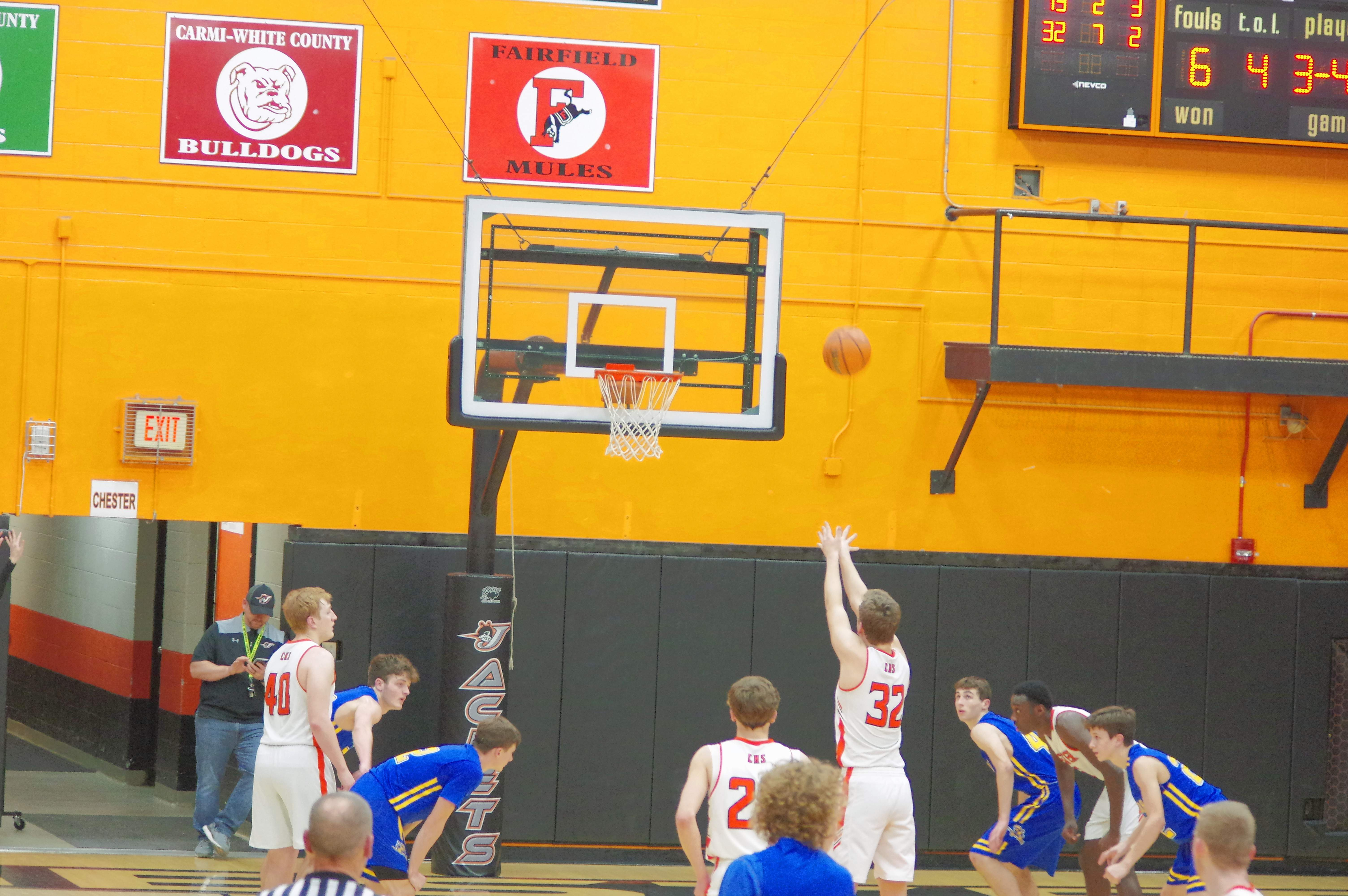 Ian Reith (32), hits one of his 11 free throws in the win over Trico.