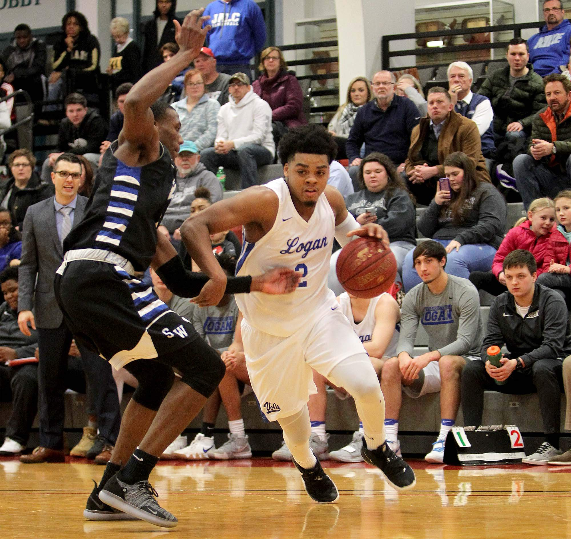 John A. Logan College sophomore David Sloan had 15 points in helping the Vols to an 83-72 win over Southwestern Illinois College Tuesday night during the District 16 Tournament at Rend Lake College.