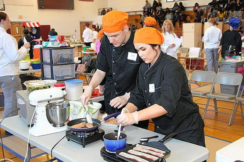 In 2018, Chester High School students Jacob Hoffman and Miah Mitchell prepared their dishes at the Platinum Chef Team Challenge.