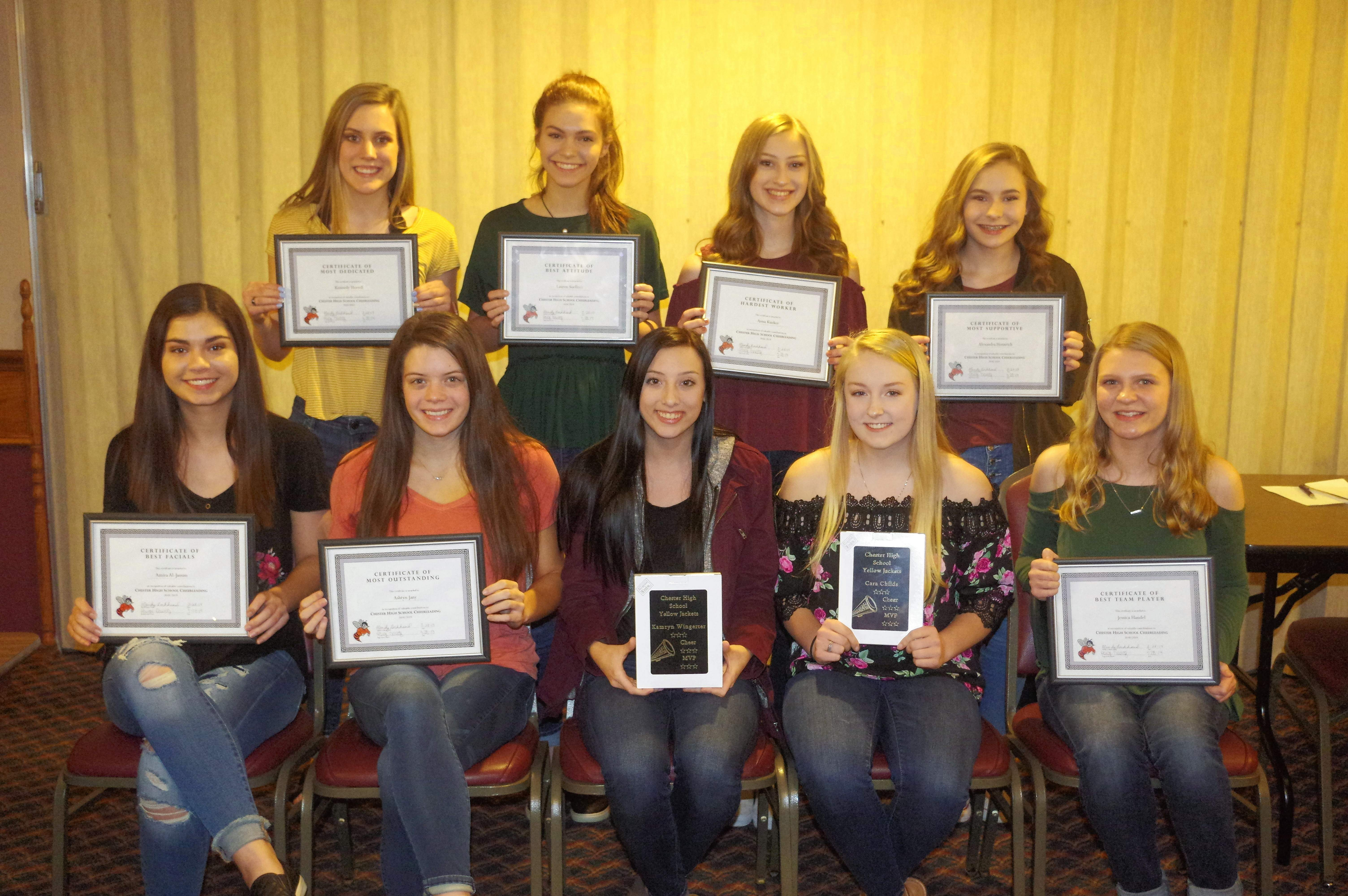 Chester High School cheerleaders pose with their awards. Back row, from left: Kennedy Herrell, Lauren Soellner, Anna Kueker, and Alex Hennrich. Front row, from left: Amira Al-Jassim, Ashtyn Jany, Kamryn Wingerter, Cara Childs and Jessica Handel. Not present, Melody Colonel and Adeline Blechle.