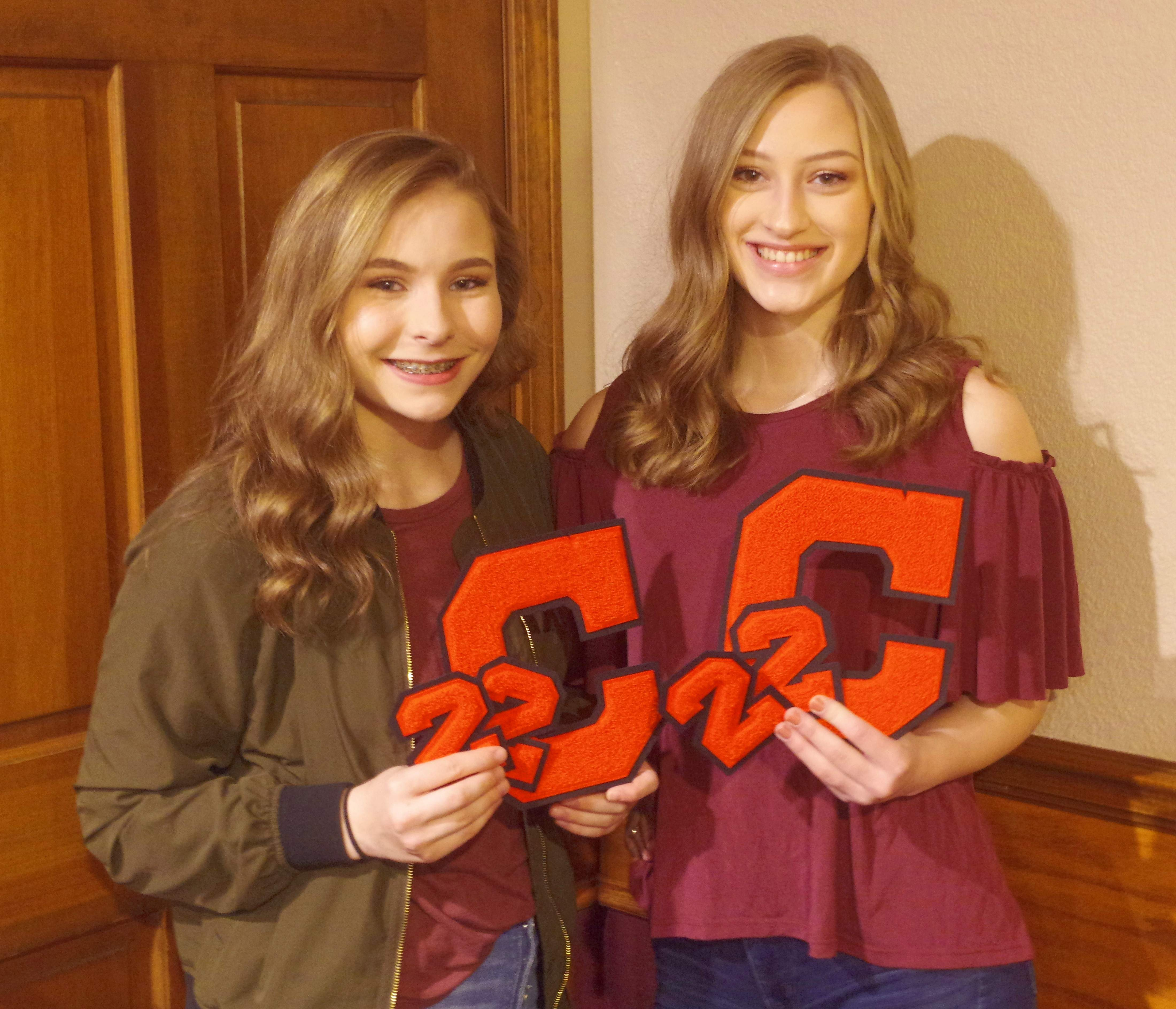 Freshmen Alex Hennrich, left and Anna Kueker earn their first letters as Chester High School athletes.
