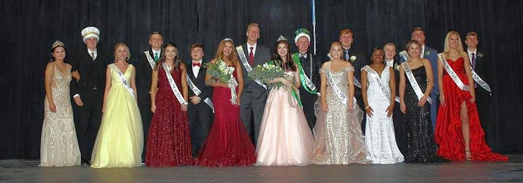 Dressed to the nines, the 2019 Prom Court is, from left: the retiring Queen and King, Sydney Korando & Zachary Zappa; Junior Class Princess and Prince candidates Adeline Blechle & Chett Andrews and Ashtyn Jany & Ethan Rayburn; 2019 CHS Prom Princess and Prince Ryn Petrowske & Ian Reith; 2019 CHS Prom Queen and King, Elizabeth Soellner and Jakob Cushman; and the senior court, Cara Childs & Drake Bollman; Sylena Martin & Erik Cowell; Carlee Weir & Nick Meyer; and Lauren Welge & Colin Wingerter.