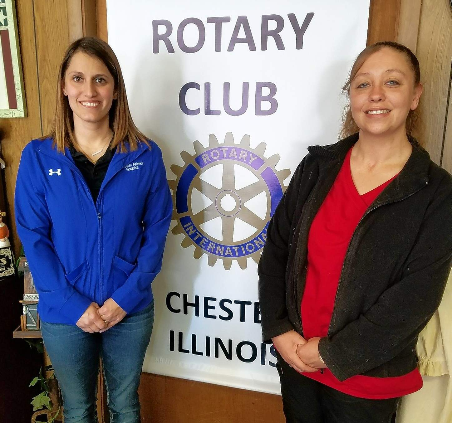 Chester veterinarian Dr. Jodie Bainter, visited a recent meeting of the Chester Rotary. At right is Bainter's assistant, Dawn Moore.