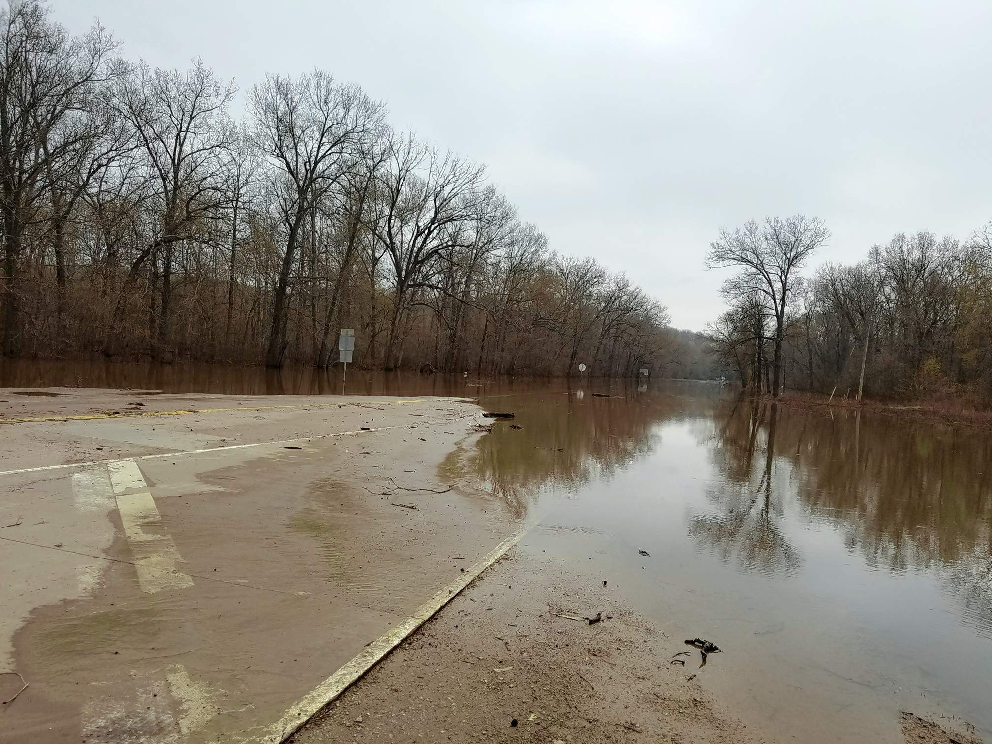 Route 3 remained closed on Monday, as the Mississippi River stubbornly had not receded.