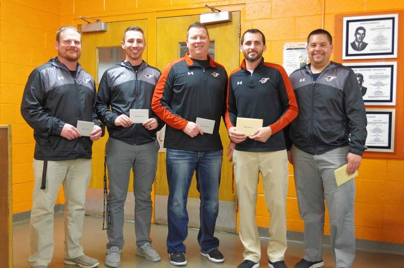 CHS basketball coaches, from left, are Ben Hunter, Jake Cowan, Riley Welborn, Brad Norman and Chris Toledo.