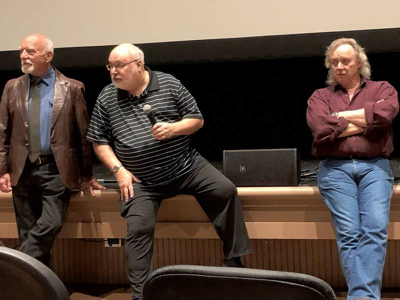 """From left, Bert Hinchman, Richard Taylor, and Les Lannom, field questions from the audience following the screening of the 40th Anniversary """"Garage Edition"""" of the 1978 cult classic """"Stingray"""" in Edwardsville Saturday evening."""