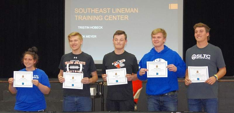 Five CHS seniors who have committed to attend trade or technical schools, are, from left: Kaylee James, nursing at Beck School of Practical Nursing; Dayton James, HVAC at Ranken; Devin Straight, welding at Ranken; Tristin Hobeck, Southeast Lineman Training Center; and Nicholas Meyer, Southeast Lineman Training Center.