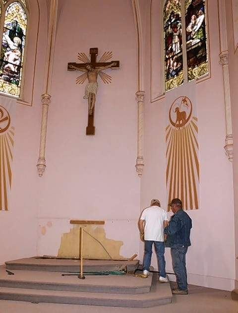 The altar at St. Mary's has been removed.