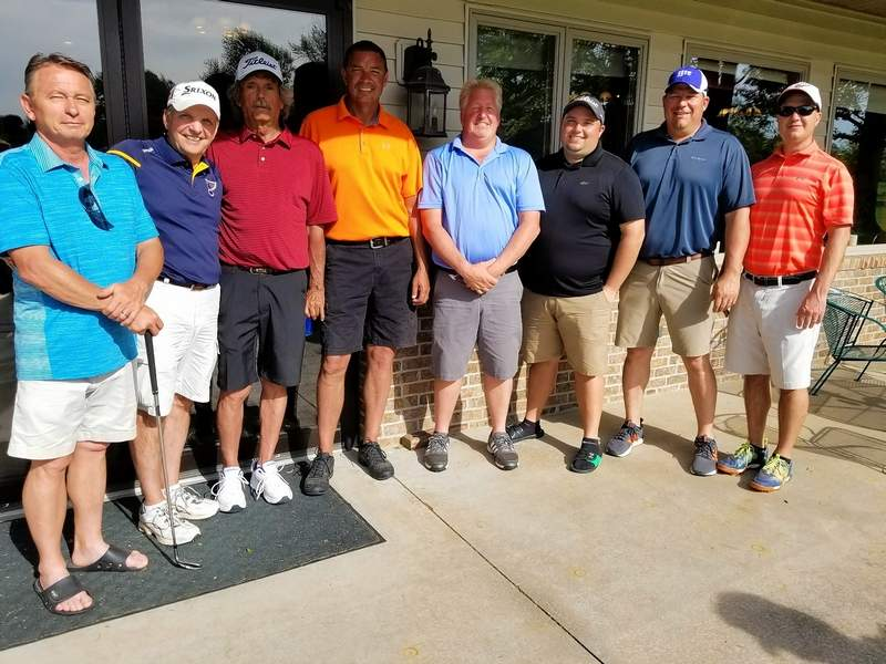 At the High South golf scramble at the Chester Country Club, the class A winning teams are, from left: Glenn Barton, Ron Nitzsche, Steve Higgerson and Larry Wingerter, the second place team; and Jim Weir, Trent Wagner, Chris Wingerter and Pat Miller, the first place team.