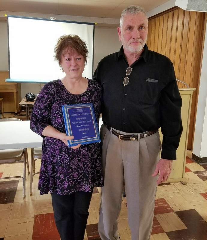 Nikki Aubuchon with her husband, John Aubuchon, after she was named Chester Women's Club's 2019 Woman of the Year.