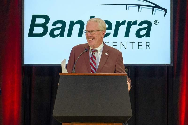 SIU sports broadcaster Mike Reis speaks at the unveiling of the change last week.