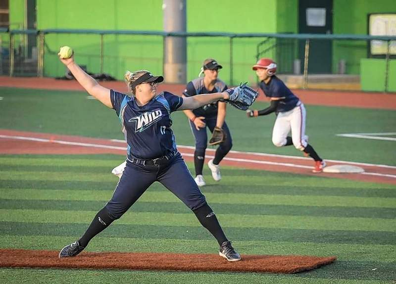Sara Groenewegen of the Canadian Wild of Southern Illlinois prepares to unleash a pitch in game action last week in Floriday against the Chinese national team.
