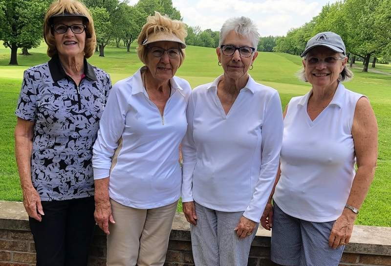 """At the Olive Oyl Golf Tournament held May 28 at the Chester Country Club, these ladies won the """"A"""" flight. From left are Karen Heisel, Harriet Drusch, Barb Johnson and Nancy Kohl."""