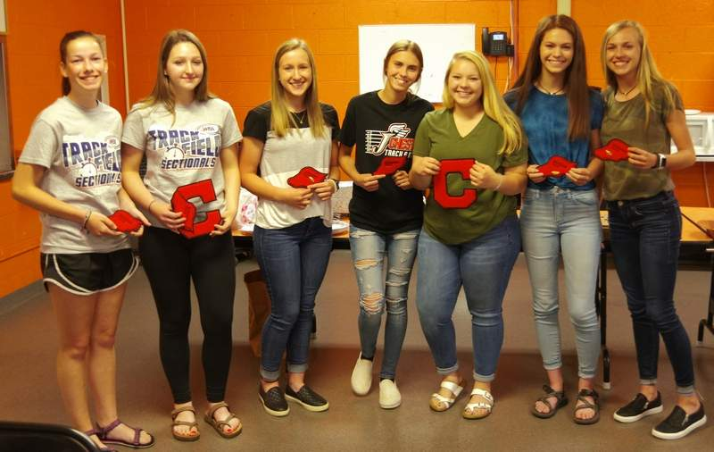 The sophomore track and fielders earned letters, pins and/or sophomore patches. From left, they are Melody Colonel, Avery Miers, Peyton Clendenin, Shelby Roth, April Amburn, Lauren Soellner and Josie Kattenbraker. Not pictured: Samantha Eggemeyer.