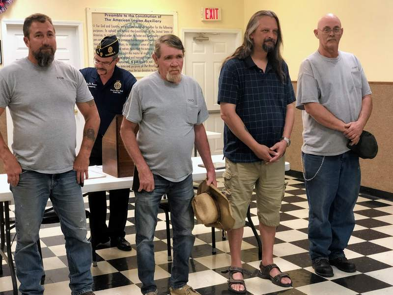 From left, Rob Studebaker, Chuck Cockrum, Roy Simpkins and Jerry McGlasson were sworn in as new officers for the Benton American Legion Post 280.