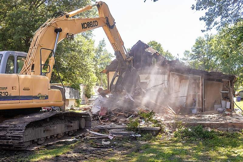 This home on Howard Street in Du Quoin was brought down by the mighty power shovel Tuesday.