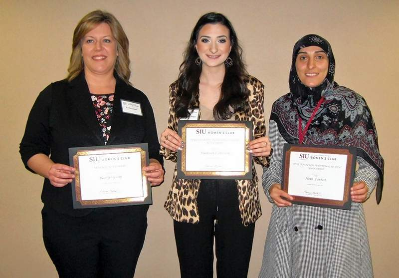 Winners of the 2019 SIU Women's Club scholarships are, left to right, Rachel Gunn, Hannah Colbrook and Nour Farhat.