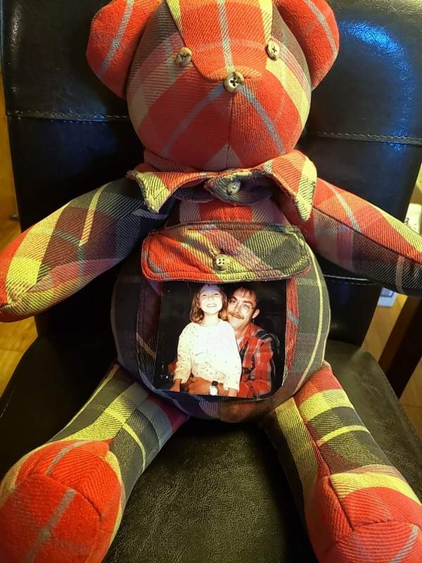 Stefanie Anderson commissioned this Rosehill Creations bear as a gift for her daughter, Hannah. It is made from one of Hannah's late father's shirts.