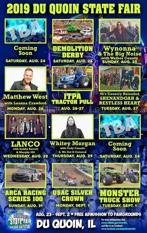 Free musical acts announced for Du Quoin State Fair