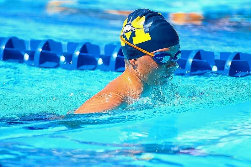 Bryce Glover of the Marlins competes in the 25-meter breaststroke for 9-year-olds.