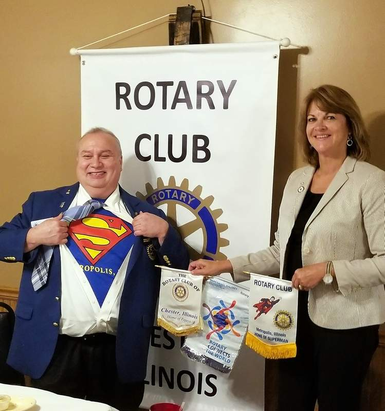 Gary Hamm, governor of Illinois Rotary District 6510 and a proud native of Metropolis, visits the Chester Rotary. Here he is with Chester Rotary President Mary Sulser.