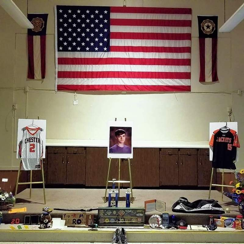The American Legion hall, ready for the celebration with some of Brandon's treasures.