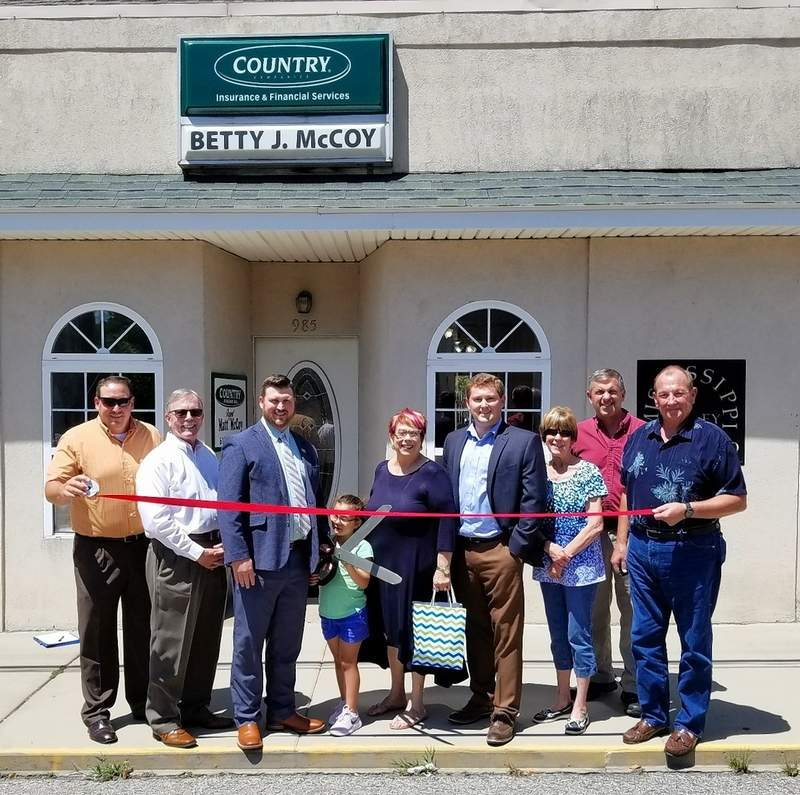The Chester Chamber of Commerce held a ribbon-cutting ceremony on Aug. 14 at the Country Financial insurance agency, 985 State St., where Chester/Ellis Grove native Matt McCoy is the new owner. From left are Dan Colvis; Chris Martin; Matt McCoy and 6-year-old daughter Sophia; Gwendy Garner; Agency Manager Trent Swift; Linda Sympson; Bob Welker and Ray Allison.