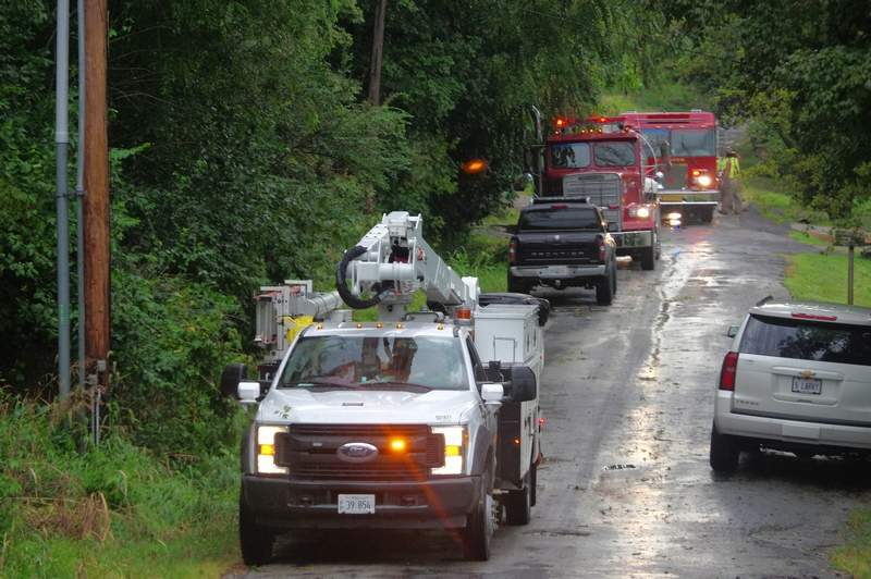Ameren Illinois personnel with firefighters from Chester and Steeleville work on the scene.
