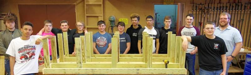 Here is Section 2 of the class that helped build the platform with teacher Matthew Meltzer, far right. Students are, from left: Tyler Ramsey, Owen Korando, John Hobeck, Zane Stueve, Danny Clendenin, Alexander Gruenewald, Joel McDaniel, Marisellis Malone, Trent Bierman, Jordan Hughes, Jacob Jany and Blake Zappa.