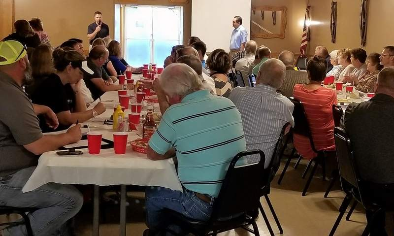 A large crowd from Chester and Perryville, Missouri were on hand to hear the latest about the new Chester Bridge.
