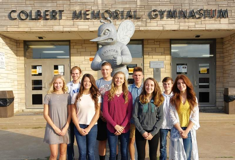 The 2019 Chester High School Homecoming Court.Front row, from left, are Adeline Blechle, Ashtyn Jany, Josie Kattenbraker, Cierra Creason and Amelia Shemonic. Back row, from left, are Hayden Gendron, Chett Andrews, Gage Garniss and Christopher Schwier.Not pictured, Ethan Bert.