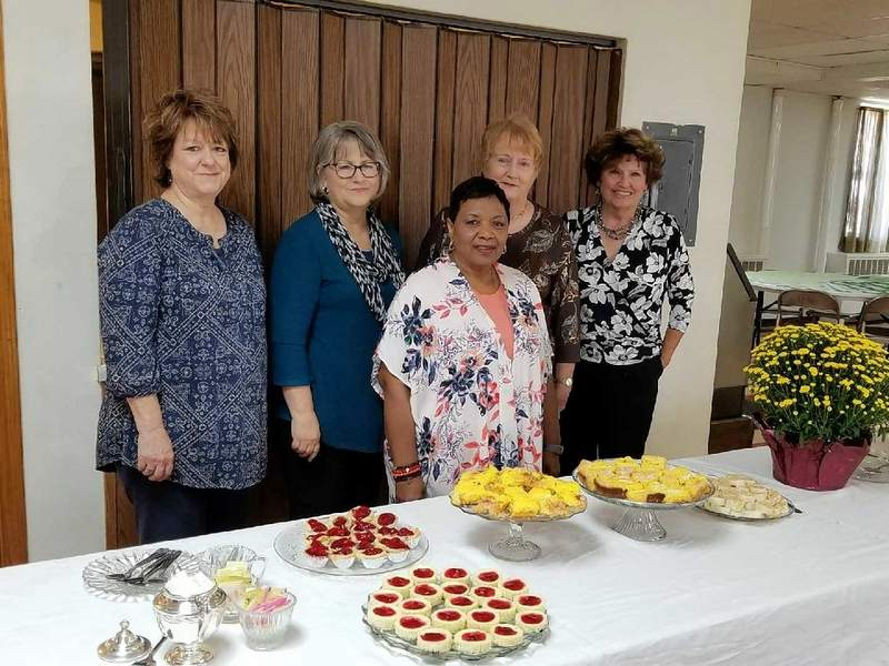 Officers of the Chester Women's Club host the club's annual opening day Officers' Tea. From left they are Nikki Aubuchon, Jane Stallman, Joyce McGee, Chris Bowles and Cathy Sauer.