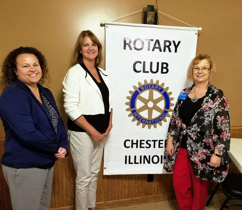 Jill Pietrusinski, assistant district coordinator of Illinois Rotary District 31, right, was the guest speaker at a meeting of the Chester Rotary on Sept. 25. At left is Crystal Lance, local membership chairman. Mary  Sulser, president, is center.