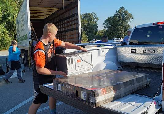 """More than a semi-truck full of electronics was collected at the """"e-cycle"""" drive in 2018."""