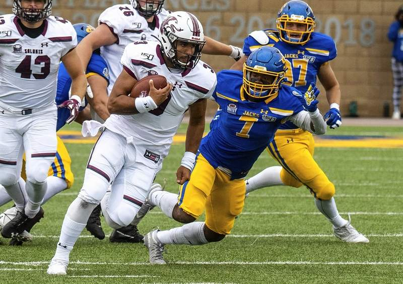 Zah Frazier looks for room to run  in game action Saturday at South Dakota State.