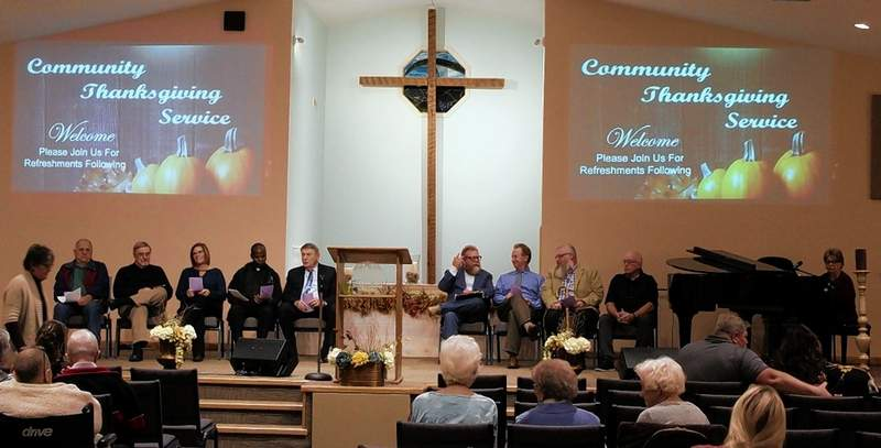 Members of the Du Quoin Ministerial Alliance participated in the Community Thanksgiving Service, from left: Henry Born, Sacred Heart Catholic Church; Robert Morwell, St. John's United Church of Christ; Jane Shelton, St. John's United Church of Christ; Father Joseph Oganda, Sacred Heart Catholic Church; Lon McPherson, Liberty Church; Gus Macropoulas, Spirit of Life Church; Kent Eaton, Second Baptist Church; Bill Wiggs Jr., Sunfield United Methodist Church; and Greg Pavloff, Velocity Church.