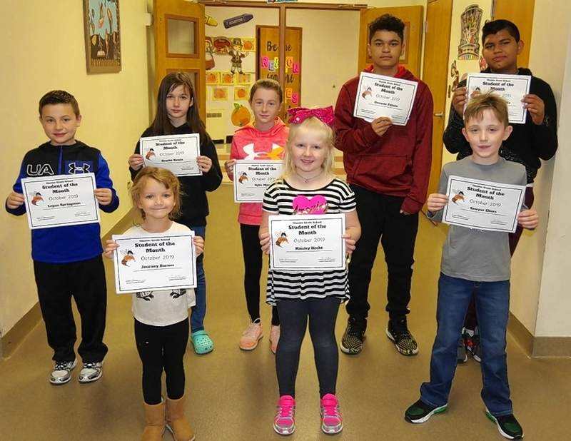 These Chester Grade School students were chosen as October Students of the Month. Front row, from left: Journey Barnes, kindergarten; Kinsley Hecht, 2nd grade and Sawyer Ebers, 3rd grade. Back row, from left: Logan Springston, 4th grade; Brooke Howie, 5th grade; Rylie Myers, 6th grade; Devante Palacio, 7th grade and Jose Quintanilla, 8th grade. Not pictured are Ella Newton, prekindergarten, and Lillian Poole, 1st grade.