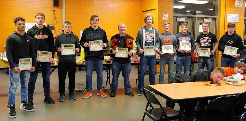 Jim Beers photoChester players who were chosen for all-Black Diamond Conference honors are, from left: Jordan Merideth, 2nd Team running back; Isaac Jany, honorable mention; Caleb Parker, honorable mention; Tyler Holm, 2nd Team offensive line; Brendan Murphy, 2nd Team defensive line; Ian Reith, 1st Team defensive line; Nate Heffernan, 1st Team defensive back; Ethan Bert, 1st Team running back and All Conference Offensive Captain; Ethen Eggemeyer, 1st Team linebacker and Jacob Miller, 1st Team offensive line