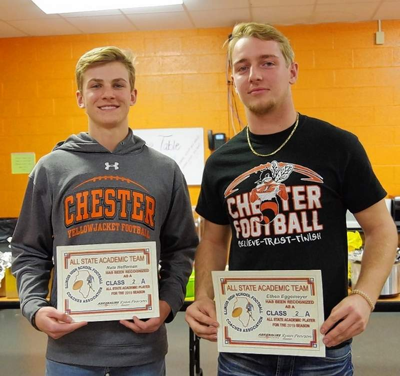 Nate Heffernan, left, and Ethen Eggemeyer have earned Academic All-State Awards.