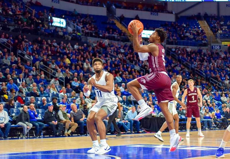 Lance Jones eyes the basket for two of his career high 14 points in SIU's loss against the Billikens.