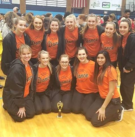Pictured with their third place trophy are, front row, from left: Mallary Vasquez, Avery Runge, Maddie Hasemeyer, Lauryn Vasquez, and Jocelyn Landeros. Back row, from left, are Alison Venus, Taylor Cartwright, Juliette Abernathy, Kylie Fortner, Paige Vasquez, Hannah Blechle, and Maria Nickle.