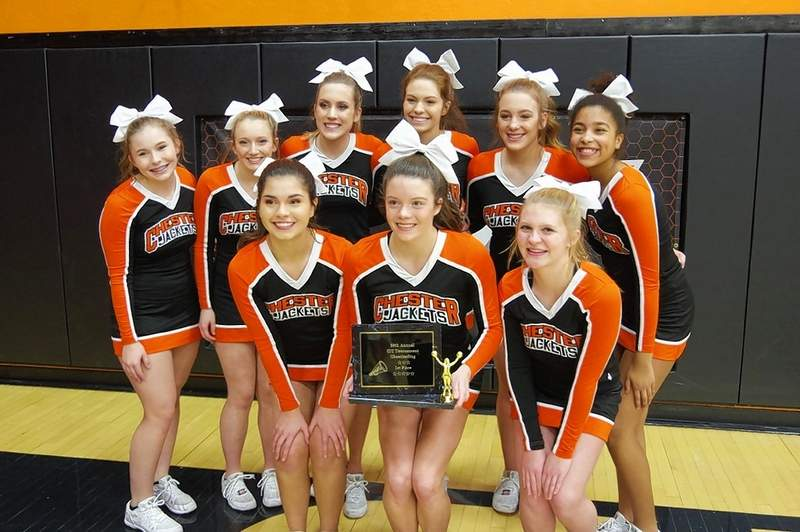 The Chester High School Cheerleading Squad won first place in the 2020 Chester Invitational Tournament competition -- for the second year in a row. Front row, from left are Amira Al-Jasim, Ashtyn Jany (with plaque) and Jessica Handel. Back row, from left, Alex Hennrich, Reese McCormick, Kennedy Herrell, Lauren Soellner, Emma Eggemeyer and Savanna Guebert. The team is coached by Alissa Herrell and Amanda Middendorf.