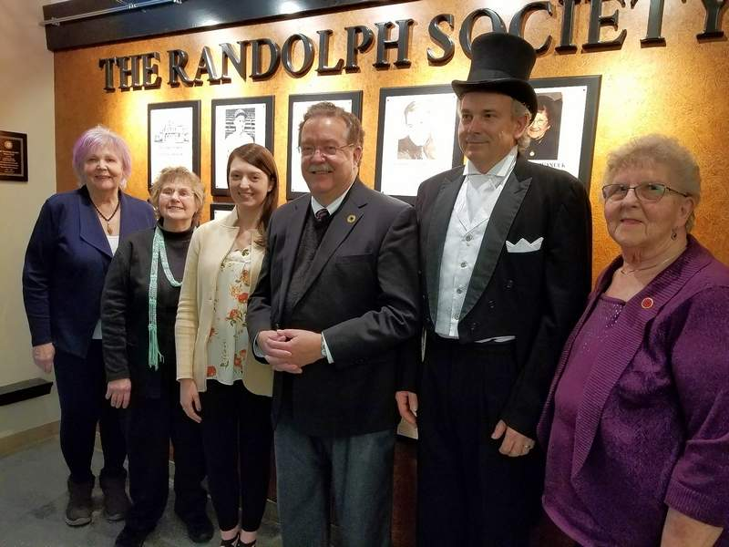 The 2019 induction ceremony at the Randolph County courthouse included presenters, from left, Julia Gangloff, Emily Lyons, Lauren Kiehna, Marc Kiehna, Alan Mueth and Jane Lucht, in front of the Wall of Honor. The board is mourning Julia (Julie) Gangloff, who passed away on Jan. 15.
