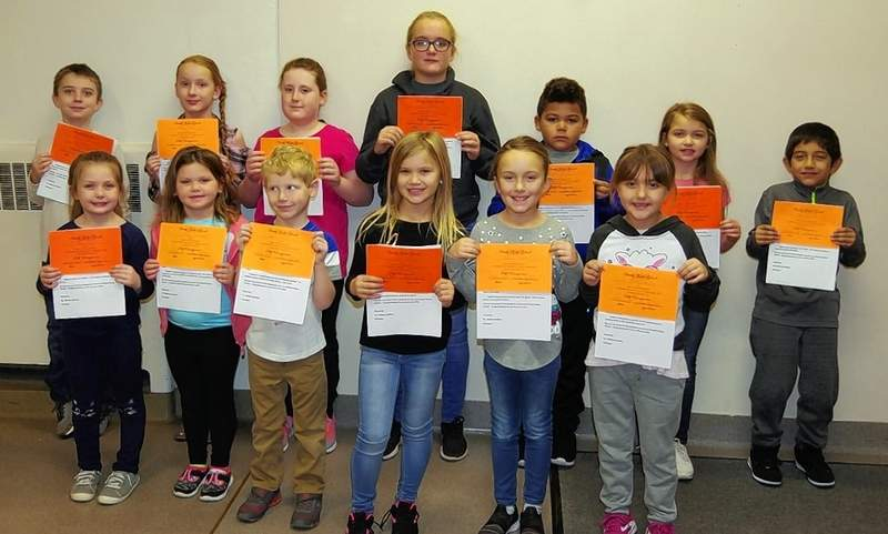 Chester Grade School students were recognized for demonstrating good self-management skills. Front row, from left are Paige Waller, Katelyn Middendorf, Landon Halstead, Jaylee Belton, Aubree Kumke and Kelsey Davitz. Back row, from left are Eagan McClelland, Alyssa Stehl, Abby Carter, Rylie Conley, Max Weston, Alexis House and Ryan Arevalo.