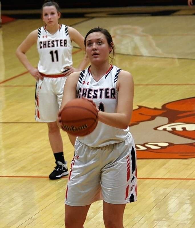 Chester sophomore, Alyssa Seymour (44) shoots a free throw at the 2:22 mark of the first quarter against the Trico Lady Pioneers.