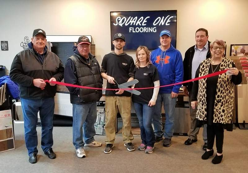 On Feb. 5, the Chester Chamber of Commerce held a ribbon-cutting ceremony at Square One Flooring, 1207 Swanwick St. The business, owned by Jason and Mary Fernandez, offers a full line of flooring and installation. From left are Ray Allison, Mayor Tom Page, Jason and Mary Fernandez, Dan Colvis and Gwendy Garner.