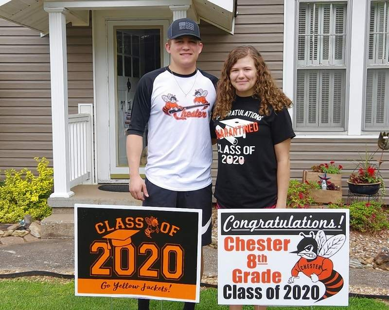Brother and sister Michael and Mabry Wingerter are among at least seven pairs of siblings who are 2020 graduates this year. Michael is a grad of CHS and Mabry from CGS. Other pairs of Chester sibling graduates include Cordelia (CHS) and Gwen Stirnaman (CGS); Avery (CHS) and Aden Runge (St. John); Aaron Hanna (CHS) and Isabelle Marshall (CGS); Chloe Page-Keim (CHS) and Reese Page (CGS); Taryn (CHS) and Raegyn Baker (St. John); and Joel (CHS) and Josh Frazer (CGS).