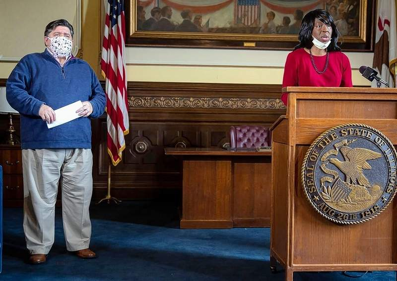 Dr. Ngozi Ezike, director of the Illinois Department of Public Health, delivers the latest numbers for the COVID-19 pandemic at Gov. J.B. Pritzker's daily press briefing.