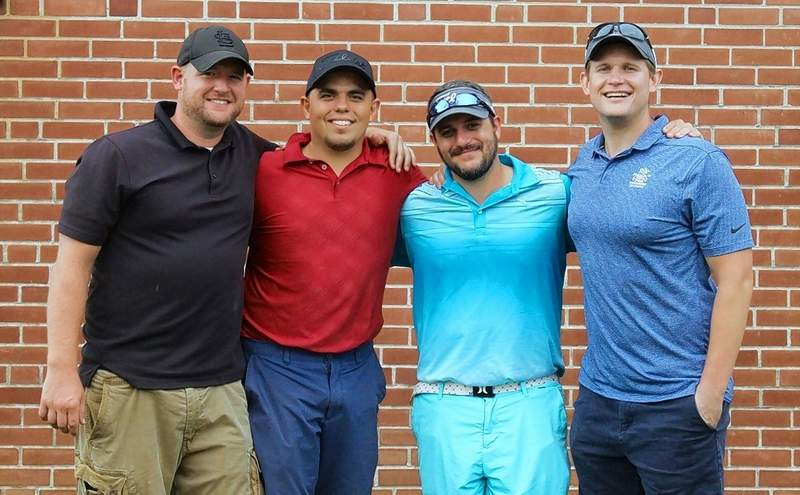 The B Flight winners are, from left, Lucas Nanney, Ricky Waller, Max Fleming and Chris Koeneman.